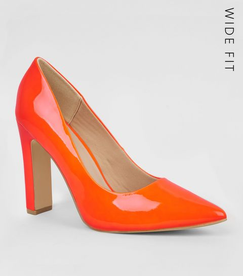 33a75be163a ... Wide Fit Orange Neon Block Heel Court Shoes ...