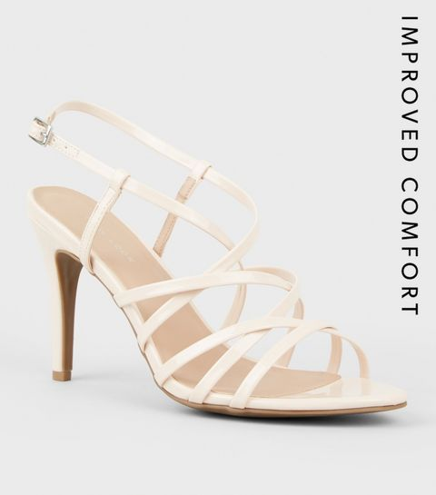 0aa8a5b6605 ... Nude Patent Strappy Stiletto Heel Sandals ...