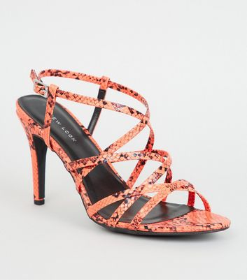 Orange Faux Snake Strappy Stiletto Heels