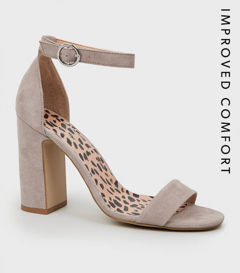 ... Grey Animal Print Insole Block Heel Sandals ...