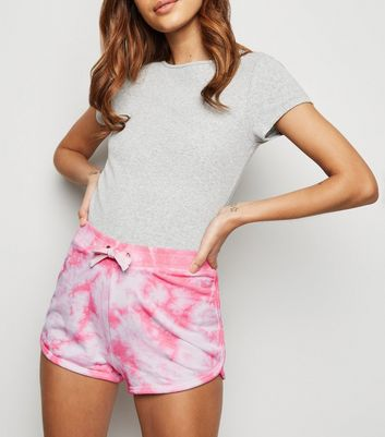 Bright Pink Tie Dye Jersey Shorts