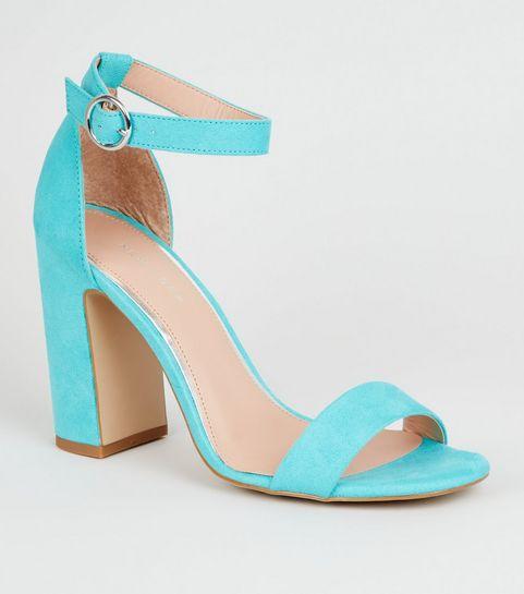 324bde0ddff4 ... Turquoise Suedette 2 Part Block Heels ...
