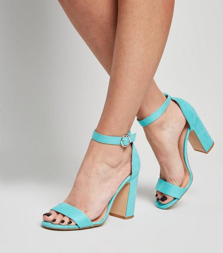 31c0fe1fcc5 Turquoise Suedette 2 Part Block Heels Add to Saved Items Remove from Saved  Items
