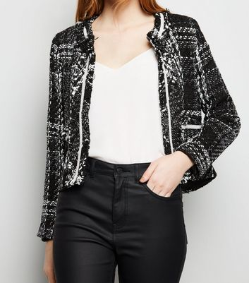 Blue Vanilla Black Bouclé Tweed Jacket