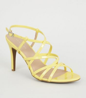 Yellow Patent Strappy Stiletto Heels