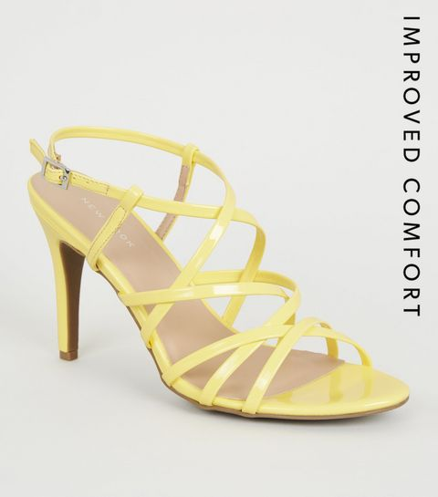 109356f63 ... Yellow Patent Strappy Stiletto Heels ...