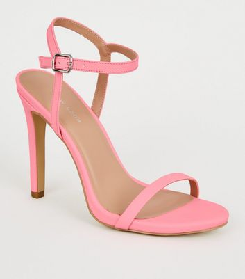 Coral Reflective Barely There Stiletto Sandals