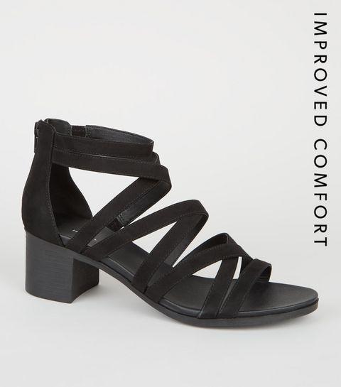 4b95b416086 ... Black Strappy Low Block Heel Footbed Sandals ...