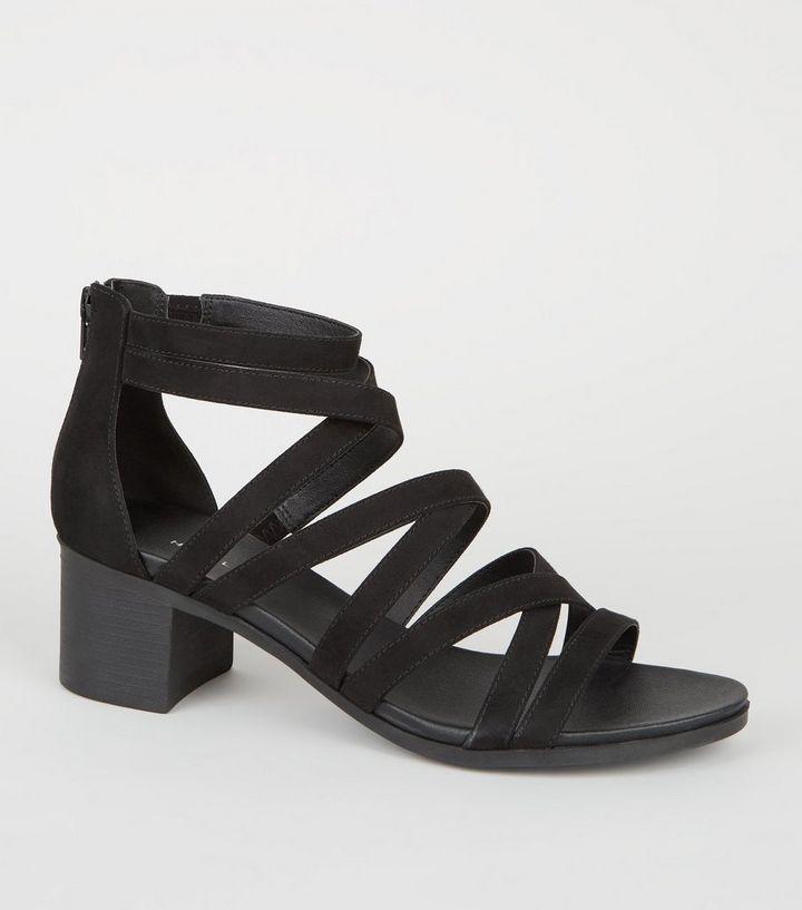 04872bb2ec Black Strappy Low Block Heel Footbed Sandals | New Look