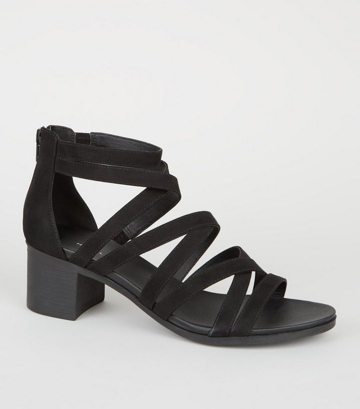 9ba00e5c13e Black Strappy Low Block Heel Footbed Sandals Add to Saved Items Remove from  Saved Items