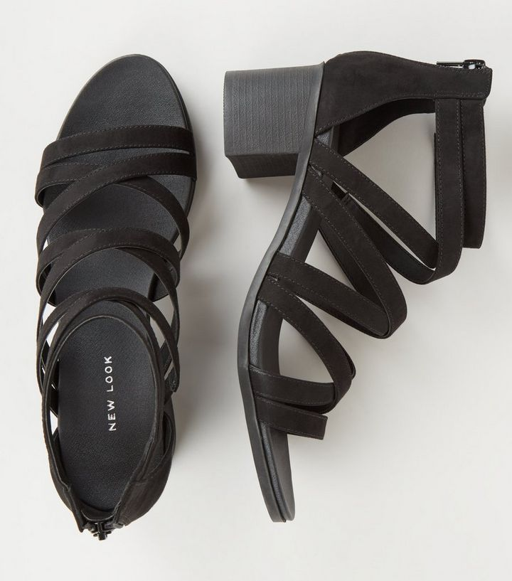 fa7b16b72d8 ... Black Strappy Low Block Heel Footbed Sandals. ×. ×. ×. Shop the look