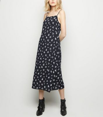 Black Floral Square Neck Slip Dress