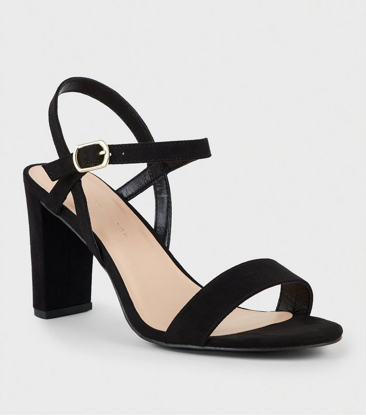 a1920b8e166a3 Extra Wide Fit Black Suedette 2 Part Block Heels | New Look