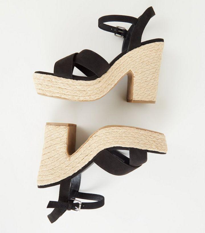 09ac21b0a75 ... Black Espadrille Platform Cross Strap Heels. ×. ×. ×. Shop the look