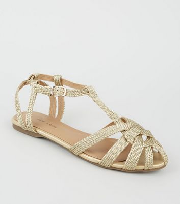 Gold Woven Strappy Flat Sandals