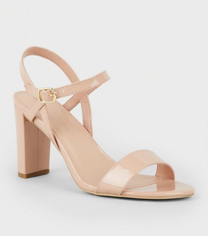 9e9bad5f4b0 Extra Wide Fit Nude Patent Block Heel Sandals