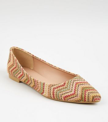 Multicoloured Woven Zig Zag Pointed Ballet Pumps