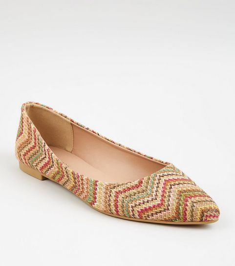 2bb7a5460 ... Multicoloured Woven Zig Zag Pointed Ballet Pumps ...