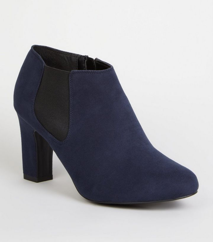 outstanding features quality and quantity assured top-rated latest Wide Fit Navy Suedette Block Heel Shoe Boots Add to Saved Items Remove from  Saved Items