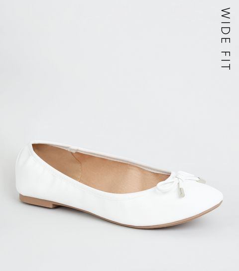 984eb2badd0 ... Wide Fit White Leather-Look Ballet Pumps ...