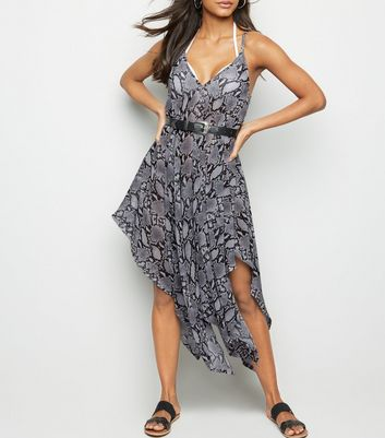 Light Grey Snake Print Hanky Hem Beach Dress