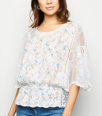 White Floral Crochet Sleeve Top