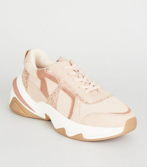 bb12618fb83 ... Nude Leather-Look Colour Block Chunky Trainers ...
