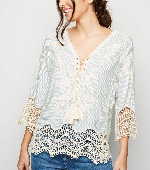 a09f1618cef ... Blue Stripe Lace Up Crochet Top ...
