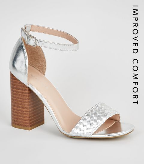16383be4ed2 ... Silver Woven Strap Block Heel Sandals ...