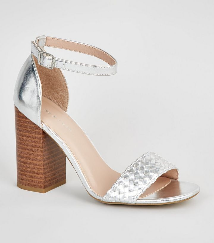 479524e1bdc Silver Woven Strap Block Heel Sandals Add to Saved Items Remove from Saved  Items