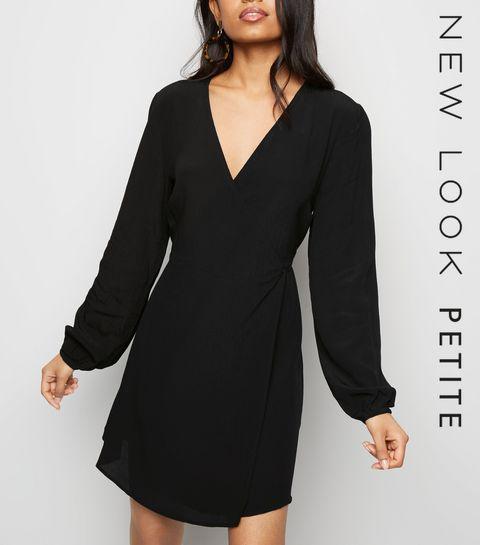 9c0e6371c7c ... Petite Black Tie Waist Wrap Mini Dress ...
