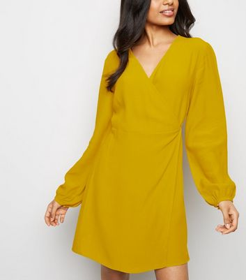 Petite Yellow Tie Waist Wrap Mini Dress