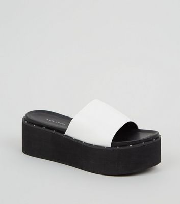 White Leather-Look Studded Flatform Sliders