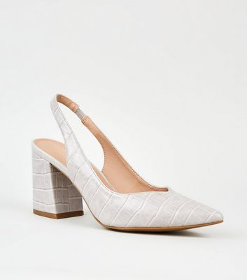 Grey Faux Croc Pointed Flare Slingback Heels