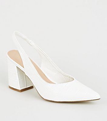 White Faux Croc Flared Heel Slingbacks