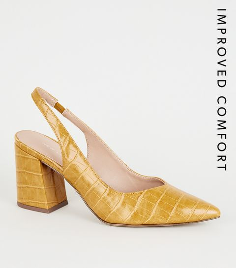 277cc81acf18 ... Mustard Faux Croc Flare Heel Slingbacks ...