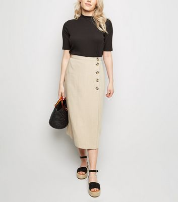 Petite Camel Linen Look Button Up Midi Skirt