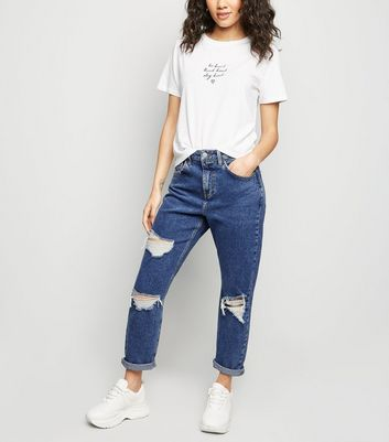 Petite Blue Ripped Mom Jeans