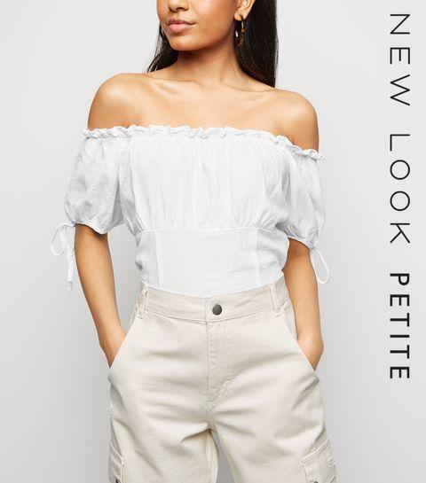 15d4fcae5700d9 ... Petite White Linen Blend Shirred Back Bardot ...
