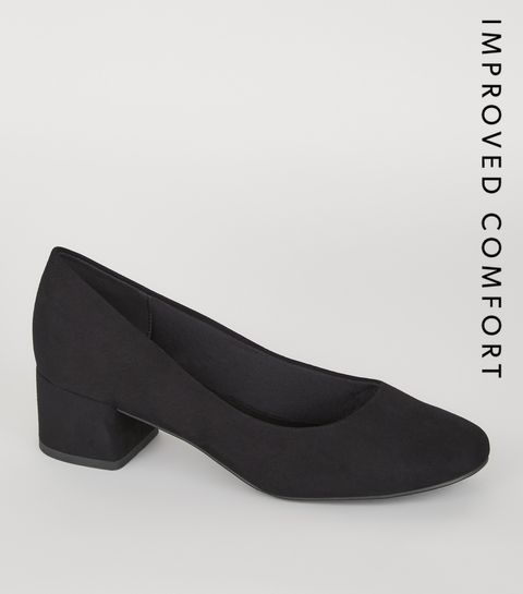 f840b1eabed ... Black Suedette Low Block Heel Court Shoes ...