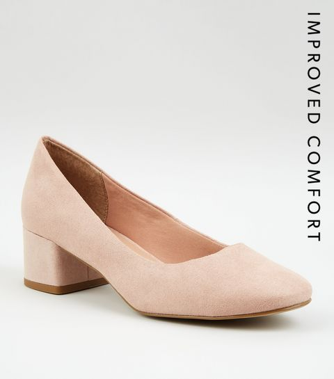 7f6774cfe04a ... Nude Suedette Low Block Heel Court Shoes ...