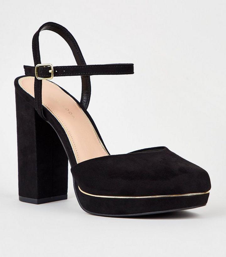 c7069ffac3f3 Black Suedette 2 Part Platform Block Heels