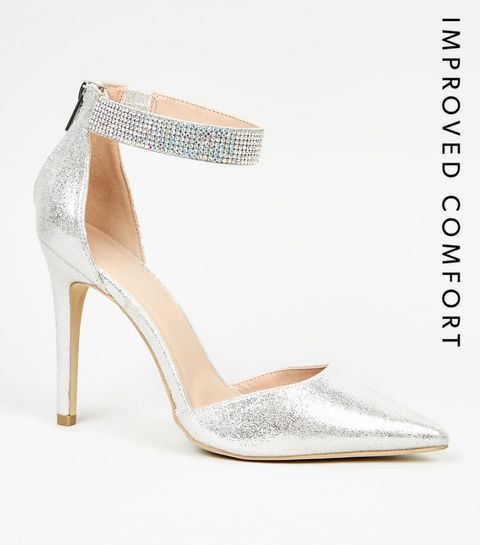 8b46b9398727 ... Silver Glitter Diamanté Strap Court Shoes ...