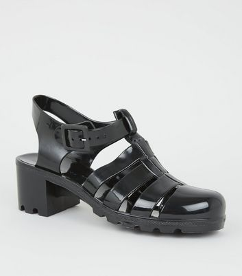 Black Jelly Caged Block Heel Sandals by New Look