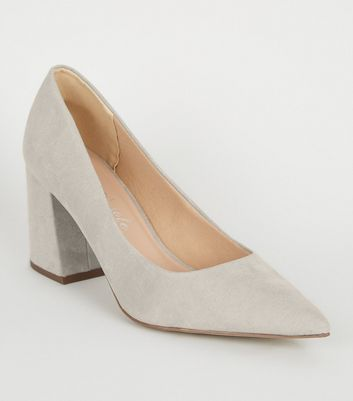Grey Pointed Flare Heels Courts Shoes