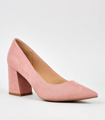 Pink Pointed Flare Heel Court Shoes