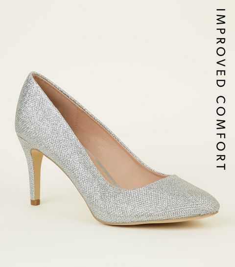 8d964e8d54cc ... Silver Glitter Stiletto Heel Court Shoes ...