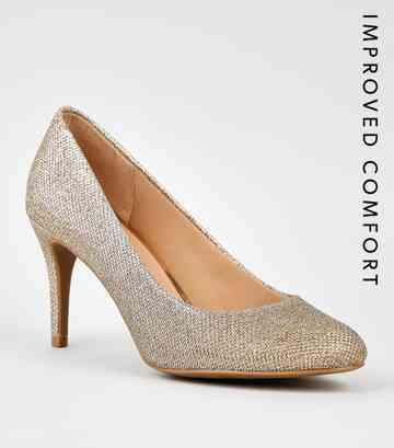 Gold Glitter Stiletto Heel Court Shoes