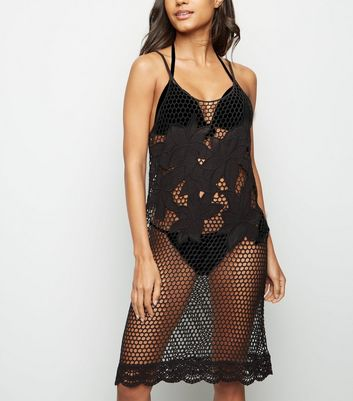 Black Appliqué Mesh Beach Dress