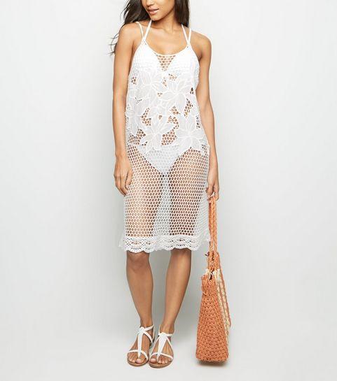 43e5fbc5c7e62 ... White Appliqué Mesh Beach Dress ...
